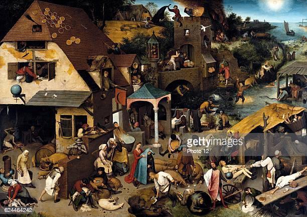 Pieter Bruegel the Elder Flemish school Netherlandish Proverbs 1559 Oil on wood panel Berlin Gemaldegalerie