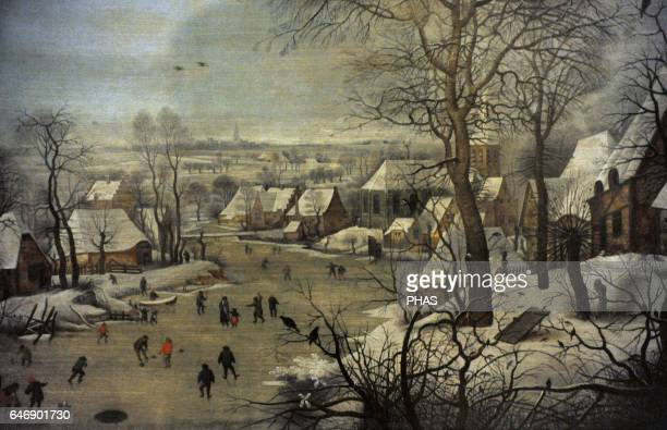 Pieter Brueghel the Younger Flemish painter Winter Landscape with ice skaters and a bird trap 1565 Oil on canvas The State Hermitage Museum Saint...