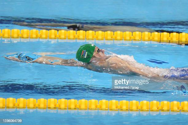 Pieter Coetze of South Africa competes in the Men's 100m Individual Backstroke Heats during day Three of the FINA Swimming World Cup Doha at Hamad...