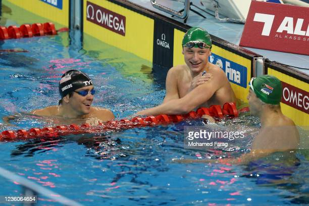 Pieter Coetze of South Africa reacts after finishing the Men's 100m Individual Backstroke Heats during day Three of the FINA Swimming World Cup Doha...