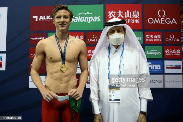 Pieter Coetze of South Africa wins the gold medal in the Men's 50m Individual Backstroke during day Two of the FINA Swimming World Cup Doha at Hamad...