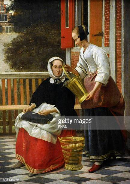 Pieter de Hooch Dutch painter Woman and Maidservant with a Pail c1660 The State Hermitage Museum Saint Petersburg Russia