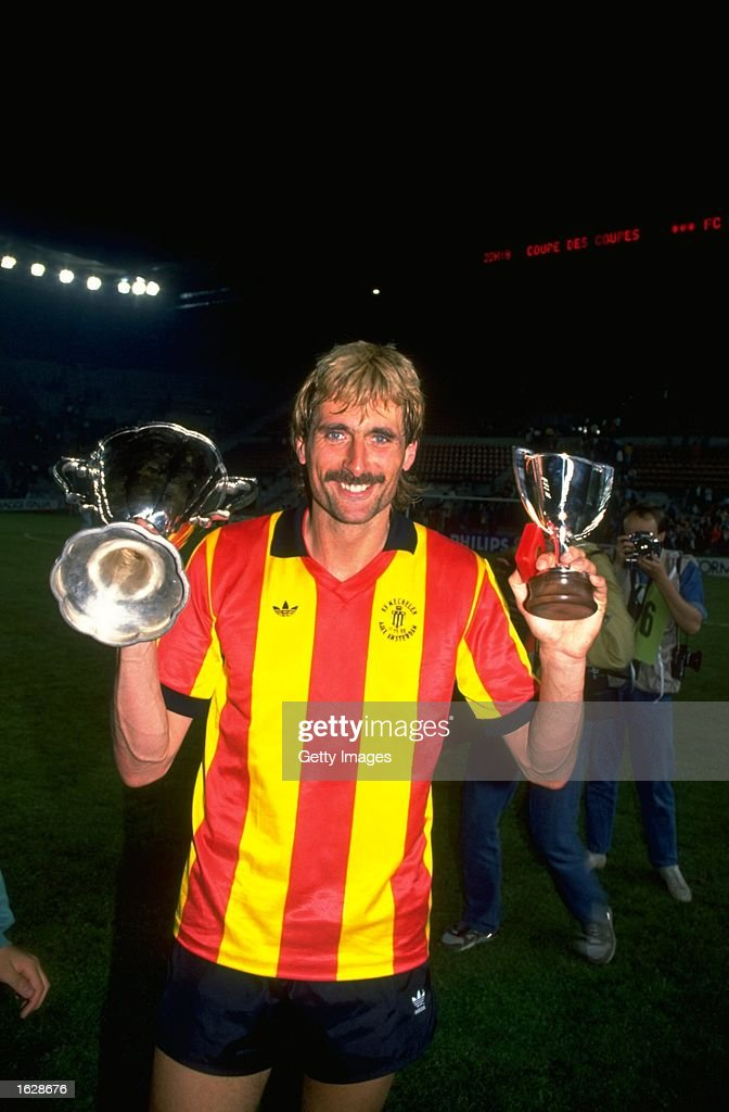 Pieter Den Boer of Mechelen holds the trophies aloft after their victory in the European Cup Winners Cup final against Ajax at the Stade de la Meinau in Strasbourg, France. Mechelen won the match 1-0. \ Mandatory Credit: Allsport UK /Allsport