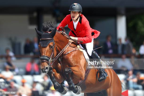 Pieter Devos of Belgium riding Claire Z competes during Day 3 of the Longines FEI Jumping European Championship speed competition against the clock...