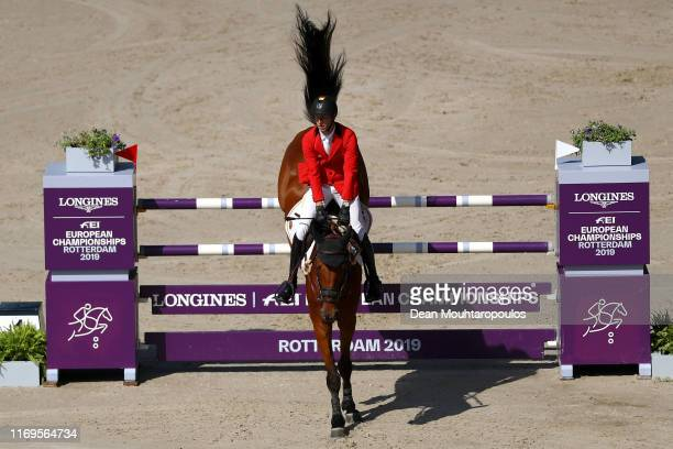 Pieter Devos of Belgium riding Claire Z competes during Day 4 of the Longines FEI Jumping European Championship 2nd part, team Jumping 1st round...