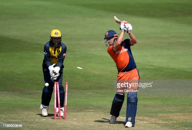 Pieter Seelaar of Netherlands is bowled by Billy Root of Glamorgan during a T20 Friendly match between Glamorgan and Netherlands at Sophia Gardens on...