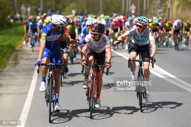 Pieter Serry of Belgium and Team QuickStep Floors / Igor Merino Cortazar of Spain and Team Burgos BH / Tao Geoghegan Hart of Great Britain and Team...