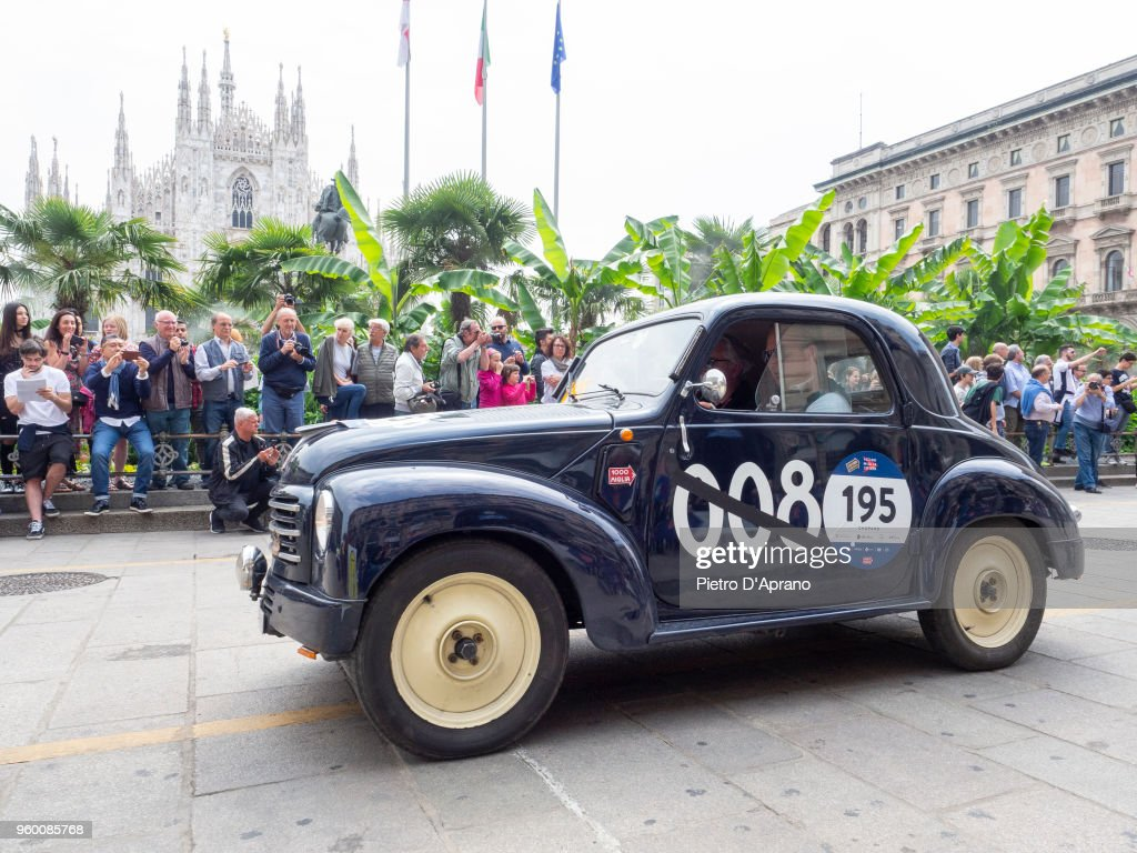 Pieter Sintobin and Juergen Bresser on a Fiat 500 C TOPOLINO on 1000 Miles Historic Road Race May 19, 2018 in Milan, Italy.