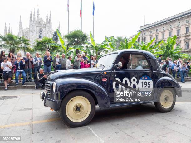 Pieter Sintobin and Juergen Bresser on a Fiat 500 C TOPOLINO on 1000 Miles Historic Road Race May 19 2018 in Milan Italy