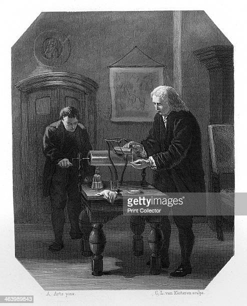 Pieter van Musschenbroek and Andreas Cunaeus Dutch scientists c1870 In 1745 Musschenbroek and his student Cunaeus invented a cheap and convenient...