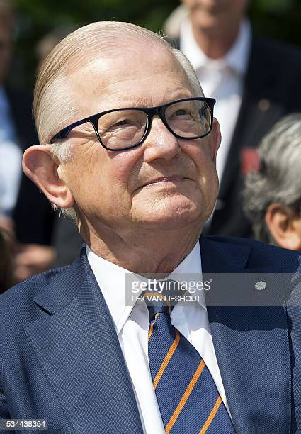 Pieter van Vollenhoven husband of Dutch princess Margriet looks on during the opening of the renovated station buildings of Ypenburg airport in The...