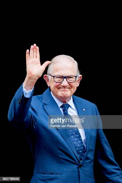 Pieter van Vollenhoven of The Netherlands arrive at the Royal Palace Amsterdam for the Gala dinner for the Corps diplomatique on April 24 2018 in...