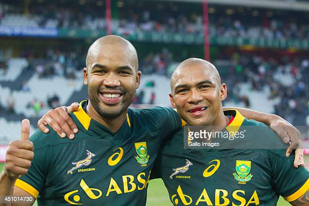 Pietersen and Cornal Hendricks of South Africa after the 2nd test match between South Africa and Wales at Mbombela Stadium on June 21 2014 in...