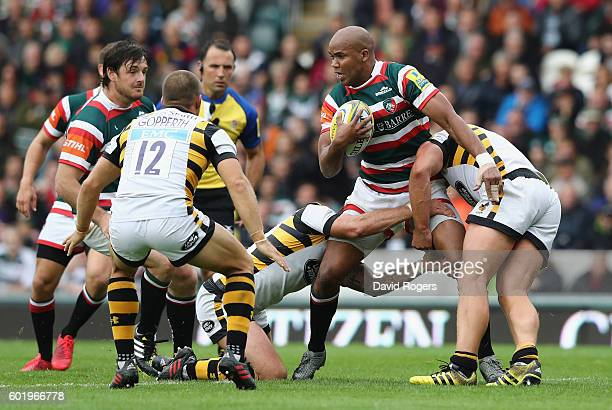 Pietersen of Leicester is tackled during the Aviva Premiership match between Leicester Tigers and Wasps at Welford Road on September 10 2016 in...