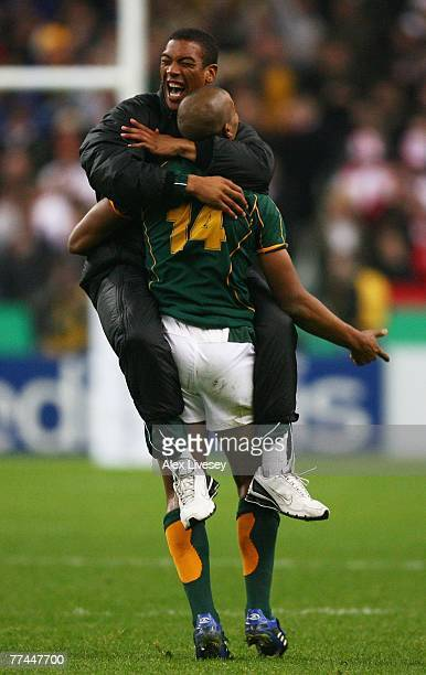 Pietersen of South Africa celebrates his team's victory during the 2007 Rugby World Cup Final between England and South Africa at the Stade de France...