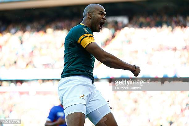 Pietersen of South Africa celebrates scoring the opening try during the 2015 Rugby World Cup Pool B match between South Africa and Samoa at Villa...