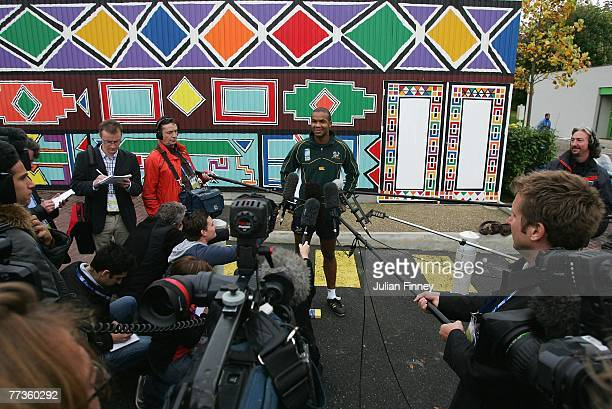 Pietersen of South Africa talks to the media after the South Africa training session at the Stade Alain Mimoun on October 17 2007 in Noisy Le Grand...