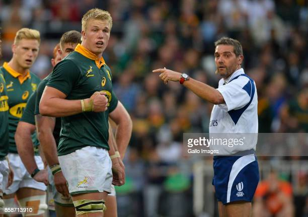 PieterSteph du Toit of South Africa and Jerome Garces during the Rugby Championship 2017 match between South Africa and New Zealand at DHL Newlands...