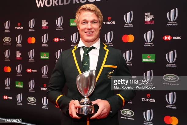 PieterSteph Du Toit of South Africa poses after being named the Men's 15s Player of the Year during the World Rugby Awards on November 03 2019 in...