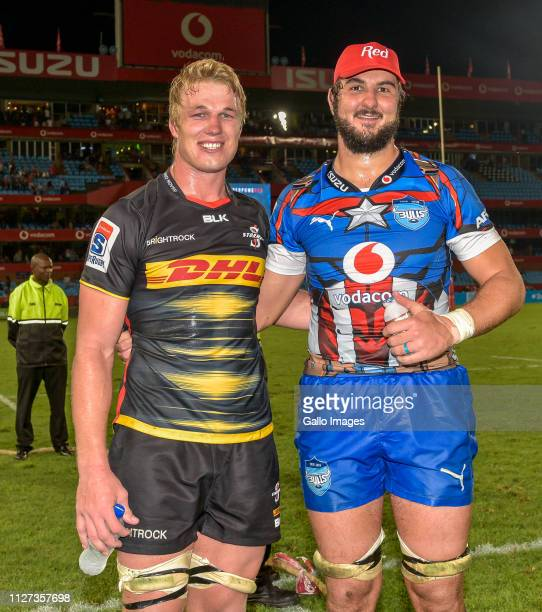 PieterSteph du Toit of the DHL Stormers and Lood de Jager of the Vodacom Bulls after the Super Rugby match between Vodacom Bulls and DHL Stormers at...