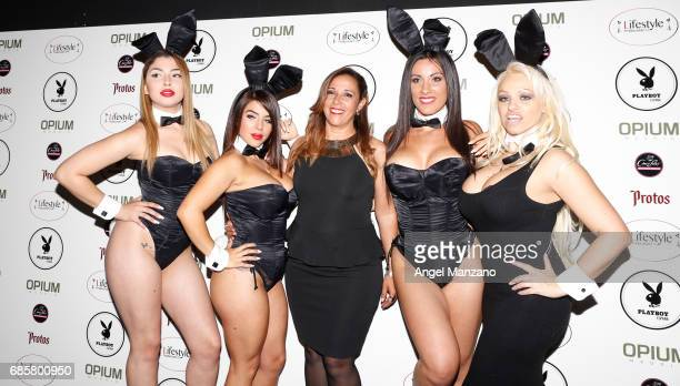 Pietra Coimbra Shara Lopez Aina Carrillo Lourdes Marcos and Annita Yes DJ attend Playboy Magazine launching at Opium Club on May 18 2017 in Madrid...
