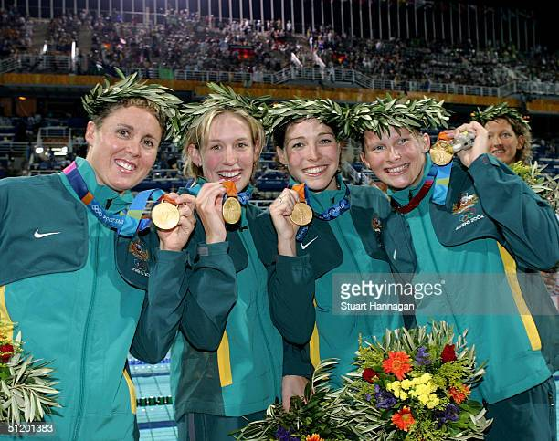 Pietra Thomas Jodie Henry Giaan Rooney and Leisel Jones of Australia win the gold medal for the women's swimming 4 x 100 metre medley relay event on...