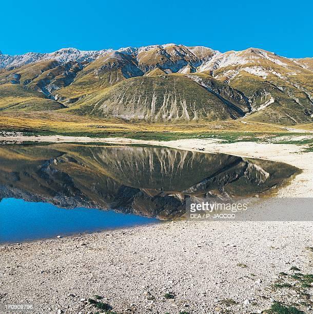 Pietranzoni Lake, Campo Imperatore, Gran Sasso, Gran Sasso and Monti della Laga National Park, Abruzzo, Italy.