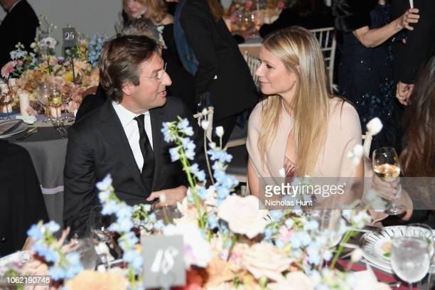 Pietro Beccari and Gwyneth Paltrow attend the Guggenheim International Gala Dinner made possible by Dior at Solomon R Guggenheim Museum on November...