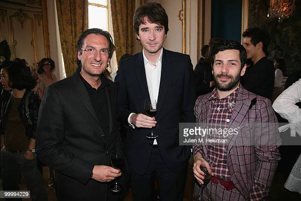 Pietro Beccari Antoine Arnault and Alexis Mabille attend the coctail reception for W Magazine's editorinchief at the Hotel D'Evreux on May 19 2010 in...