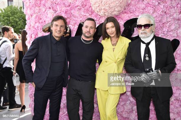 Pietro Beccari Kim Jones Bella Hadid and Karl Lagerfeld attend the Dior Homme Menswear Spring/Summer 2019 show as part of Paris Fashion Week on June...