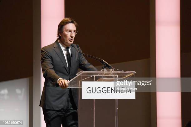 Pietro Beccari speaks onstage during the Guggenheim International Gala Dinner made possible by Dior at Solomon R Guggenheim Museum on November 15...