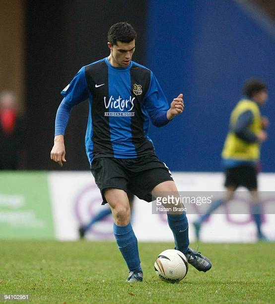 Pietro Berrafato of Saarbruecken plays the ball during the Regionalliga match between 1 FC Saarbruecken and Wormatia Worms at the Ludwigspark stadium...