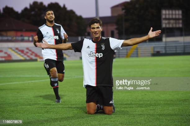 Pietro Beruatto of Juventus U23 celebrates after scoring the opening goal during the Coppa Italia Serie C match between Juventus U23 and Pergolettese...