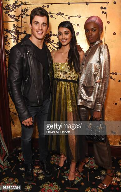 Pietro Boselli Neelam Gill and Leomie Anderson attend the Dior Backstage launch party at Loulou's on May 29 2018 in London England