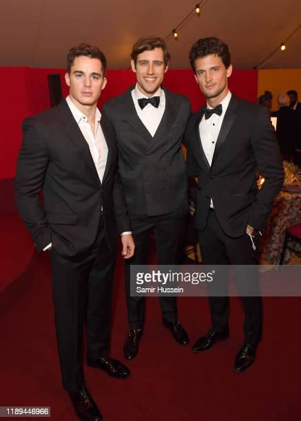 Pietro Boselli Zac Stenmark and Garrett Neff attend the gala dinner in honour of Edward Enninful winner of the Global VOICES Award 2019 during...