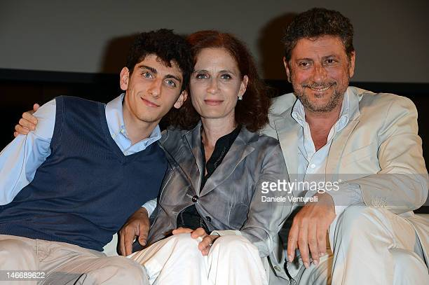 Pietro Castellitto Margaret Mazzantini and Sergio Castellitto attend the 'Premio Cariddi Alla Famiglia Castellitto' during the 58th Taormina Film...