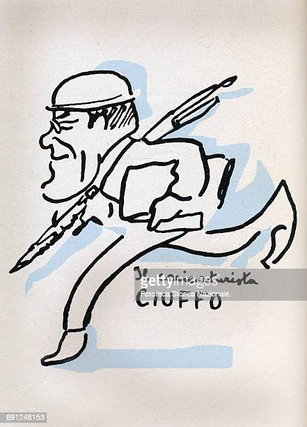 """Pietro Ciuffo the caricaturist chases his """"victims"""" armed with pencils and brushes during the socialist congress in Livorno. Self - caricature of..."""