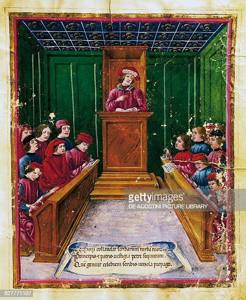 Pietro da Unzola lecturing from a legal text to pupils during a law lecture at the University of Bologna miniature from the Liber iurium et...