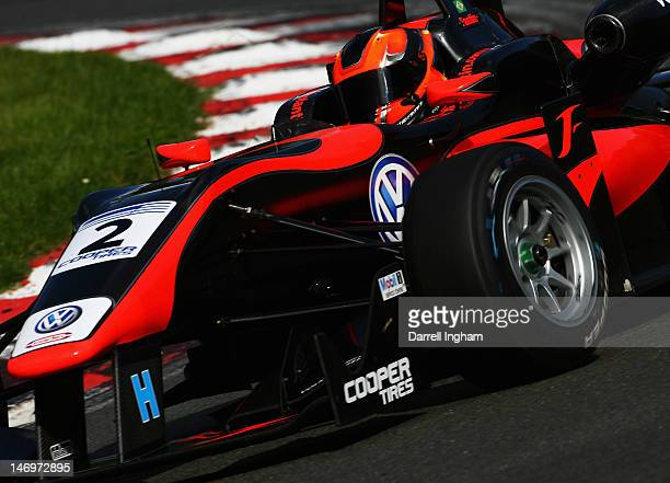 Pietro Fantin of Brazil drives the Carlin Dallara F312 Volkswagen during the Cooper Tires British Formula 3 Championship race at the Brands Hatch...