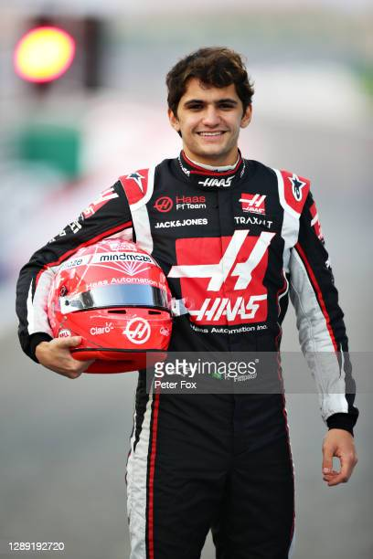 Pietro Fittipaldi of Brazil and Haas F1 poses for a photo in the Pitlane during previews ahead of the F1 Grand Prix of Sakhir at Bahrain...