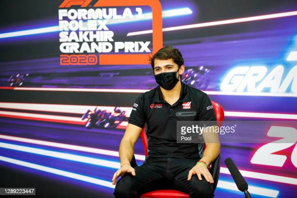 Pietro Fittipaldi of Brazil and Haas F1 talks in the Drivers Press Conference during previews ahead of the F1 Grand Prix of Sakhir at Bahrain...