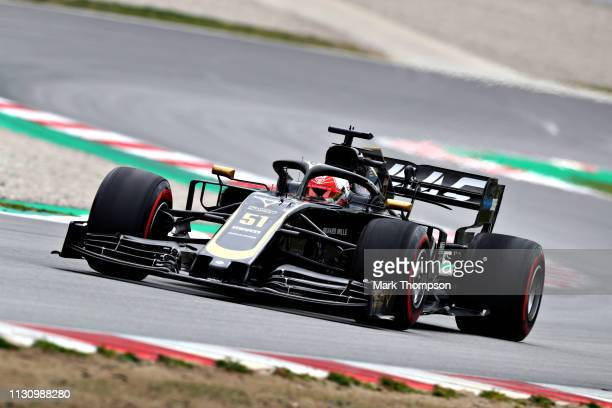 Pietro Fittipaldi of Brazil driving the Haas F1 Team VF19 Ferrari on track during day three of F1 Winter Testing at Circuit de Catalunya on February...