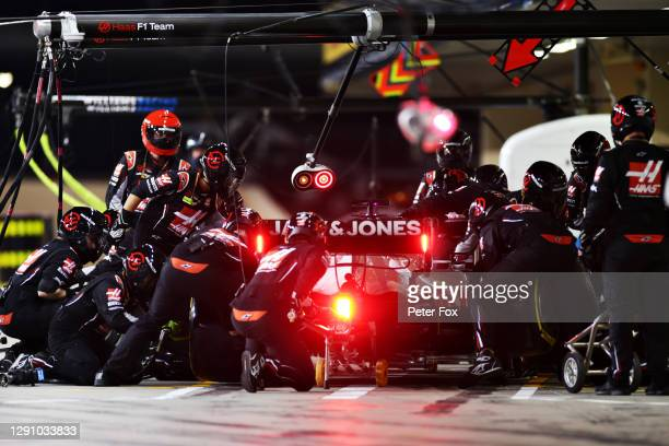 Pietro Fittipaldi of Brazil driving the Haas F1 Team VF-20 Ferrari makes a pitstop during the F1 Grand Prix of Abu Dhabi at Yas Marina Circuit on...