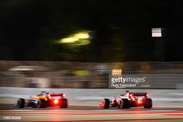 Pietro Fittipaldi of Brazil driving the Haas F1 Team VF-20 Ferrari and Lando Norris of Great Britain driving the McLaren F1 Team MCL35 Renault on...