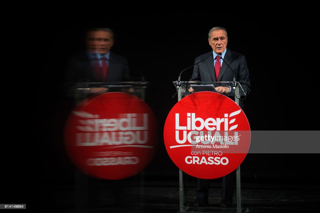 Pietro Grasso, leader of 'Libera e Uguali' left-wing political party, speaks during the presentation of parliamentary candidates for the upcoming general election, on February 04, 2018 in Rome, Italy. The Italian General Election takes place on March 4th 2018.