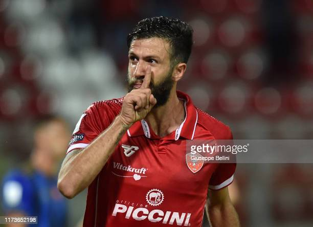 Pietro Iemmello of AC Perugia celebrates after scoring opening goal during the Serie B match between AC Perugia and Pisa SC at Stadio Renato Curi on...