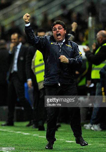 Pietro Leonardi manager of Parma FC celebrates after the first goal during the Serie A match between Parma FC and AC Milan at Stadio Ennio Tardini on...