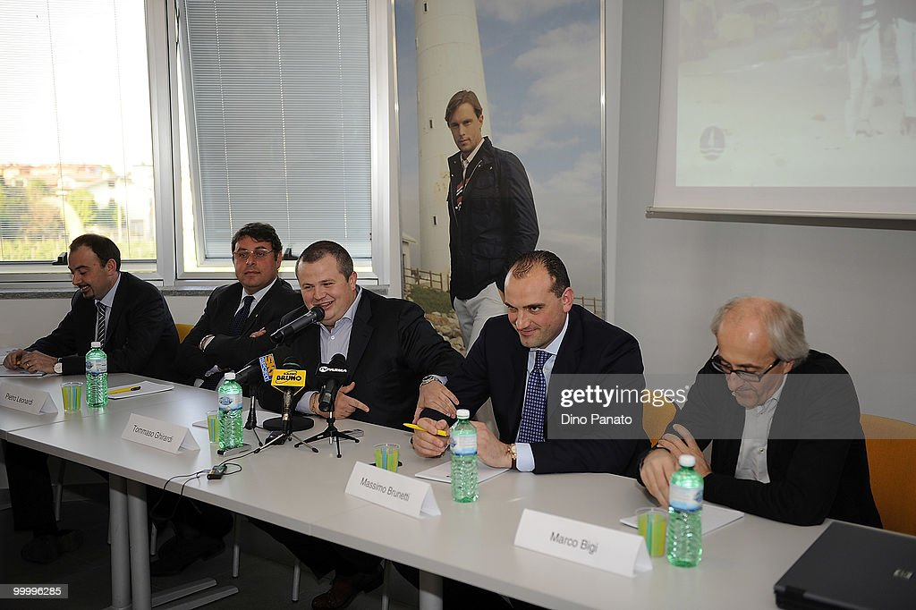 Pietro Leonardi, President of FC Parma Tommaso Ghirardi, President of Navigare Massimo Brunetti and Marco Bigi attend a press conference as Parma FC and Navigare announce the renewal of their sponsorship deal on May 19, 2010 in Rio Saliceto near Carpi, Italy.