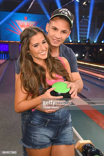 Pietro Lombardi and his wife Sarah Lombardi during the tv show 'Der grosse RTL IIPromiKegelabend' on July 31 2016 in Winterberg Germany