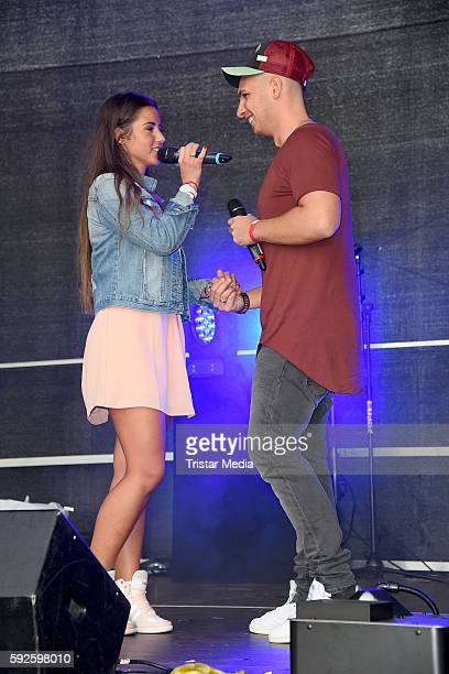 Pietro Lombardi and his wife Sarah Lombardi perform at the Kinderhospiz Charity Open Air at Helvetiaparc on August 20 2016 in GrossGerau Germany